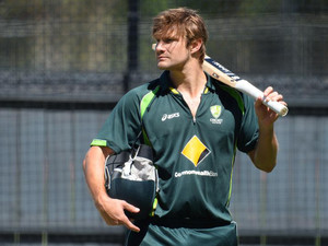 Australian batsman Shane Watson waits to bat in the nets during training on the eve of the second cricket Test match against England, in Adelaide on December 4, 2013