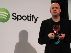 Spotify founder and CEO Daniel Ek addresses a press conference in New York, December 11, 2013