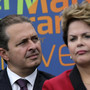 File picture of Governor of Pernambuco state, Eduardo Campos, looking on near Brazil's President Dilma Rousseff during a ceremony in Brasilia