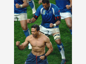 Samoan rugby union player Brian Lima is seen performing the Haka at the end of a match in Saint-Etienne, eastern France, on September 26, 2007