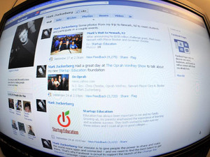 File photo shows the home page of Facebook founder Mark Zuckerberg pictured in Washington D.C. on October 18, 2010