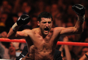 Carl Froch of Britain celebrates in Nottingham on May 26, 2012