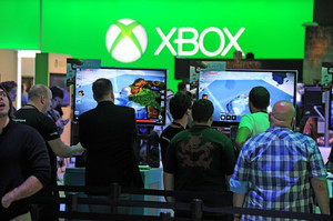 Attendees play Project Spark for Xbox One during the E3 Electronic Entertainment Expo in Los Angeles, on June 13, 2013