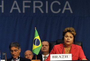 Brazilian President Dilma Rousseff addresses a BRICS summit in Durban on March 27, 2013