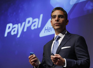 PayPal President David Marcus speaks during a news conference in Tokyo