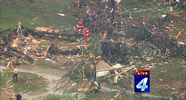 Photo courtesy of KFOR-TV shows emergency crews,  May 19, 2013, after a tornado ripped through Twin Lakes, Oklahoma