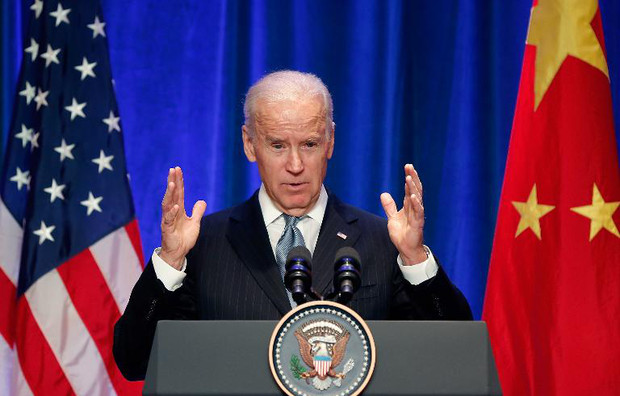 US Vice President Joe Biden makes a speech as he attends a business leaders' breakfast at a hotel in Beijing on December 5, 2013
