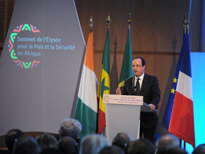 French President Francois Hollande addresses the Franco-African Economic Conference at the Economy Ministry in Paris on December 4, 2013