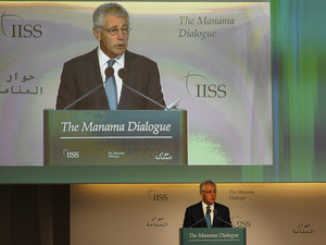 U.S. Defense Secretary Chuck Hagel speaks at the IISS Regional Security Summit - The Manama Dialogue, in Manama