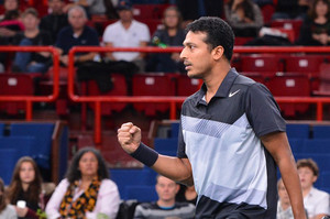 India's Mahesh Bhupathi celebrates after a point on November 4, 2012 at the Bercy Palais-Omnisport in Paris