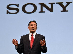 Sony president Kazuo Hirai addresses a press conference at the company's headquarters in Tokyo, on May 22, 2013