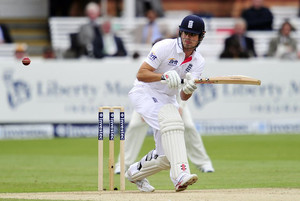 Alastair Cook bats during the first Test between England and New Zealand at Lord's in London on May 18, 2013