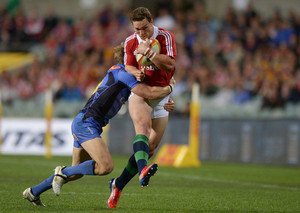 George North (R) of the British and Irish Lions during their match against the Western Force in Perth on June 5, 2013