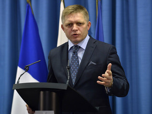 Slovakia's Prime Minister Robert Fico speaks during a news conference at the Slovak government building in Bratislava