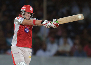 David Miller plays for Kings XI Punjab against Deccan Chargers in Hyderabad on May 8, 2012