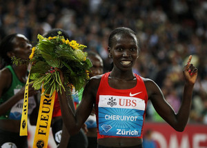 Kenya's Vivian Cheruiyot reacts after winning the 5000m Women's Race on September 8, 2011, in Zurich