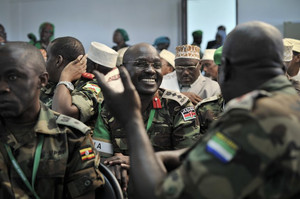 African Union soldiers attend an event in Mogadishu, to mark the African Union's 50th anniversary, on May 23, 2013