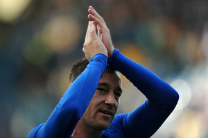 Chelsea defender John Terry greets the crowd at the end of their Premier League match against Everton on May 19, 2013