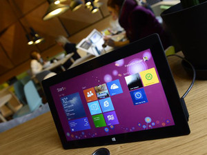 A Microsoft tablet is seen on November 5, 2013 in Berlin