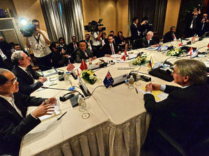 Trade ministers and representatives attend the Trans-Pacific Partnership (TPP) Ministerial Meeting in Singapore on December 7, 2013