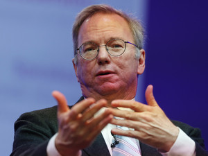 Google Executive Chairman Eric Schmidt speaks at the Google Big Tent event at the Grove Hotel on the outskirts of London