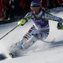 Germany's Maria Hoefl-Riesch clears a gate during the first run of the Women's slalom at the Ski World Cup on December 17, 2013 in Courchevel, French Alps