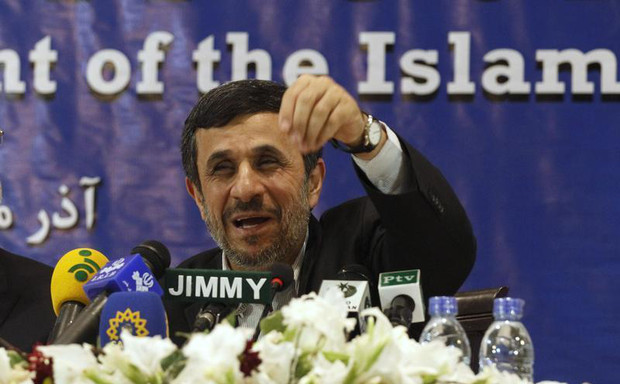 Iran's President Ahmadinejad speaks during a media conference at Iran's embassy after he attended the Developing-8 summit in Islamabad