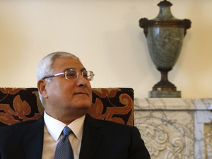 Egypt's interim President Mansour attends a meeting with EU foreign policy chief Ashton in Cairo