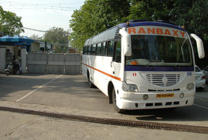 Indian employees of the Ranbaxy leave work from the Toansa village in  Ropar on May 14, 2013