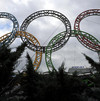 Olympic rings are seen in front of Adler airport, near Sochi, on November 30, 2013