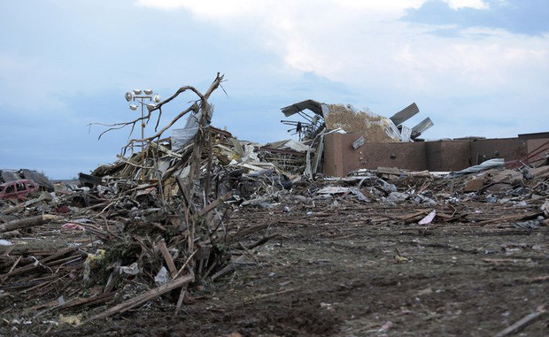 Piles of debris lie around Plaza Towers Elementary school after it was damaged by a tornado May 21, 2013 in Moore