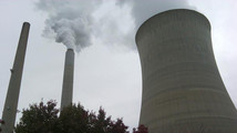 The cooling tower of a power plant is seen in New Haven, West Virginia