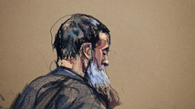 A courtroom sketch shows Nazih al-Ragye known by the alias Abu Anas al-Liby as he appears in Manhattan Federal Court for an arraignment in New York