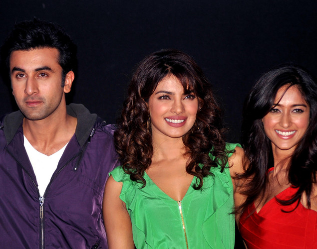 Bollywood actors Ileana D'Cruz (R), Ranbir Kapoor (L), and Priyanka Chopra arrive for the launch of the upcoming Hindi film, Barfi.