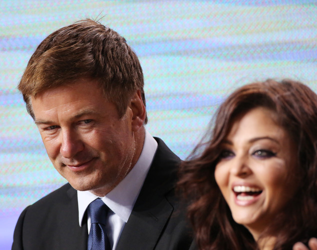 US actor Alec Baldwin and Indian actress Aishwarya Rai take part in the TV show 'Le Grand Journal' on the set of French TV Canal+ during the 65th Cannes film festival.