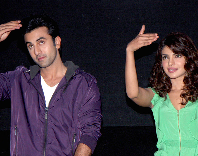 Bollywood actors Ranbir Kapoor and Priyanka Chopra arrive for the launch of the upcoming Hindi film, Barfi.