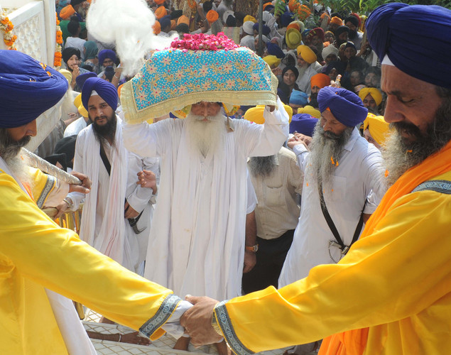 The procession took place for the 408th anniversary of the installation of the Guru Granth Sahib, the holy book of the Sikh religion.