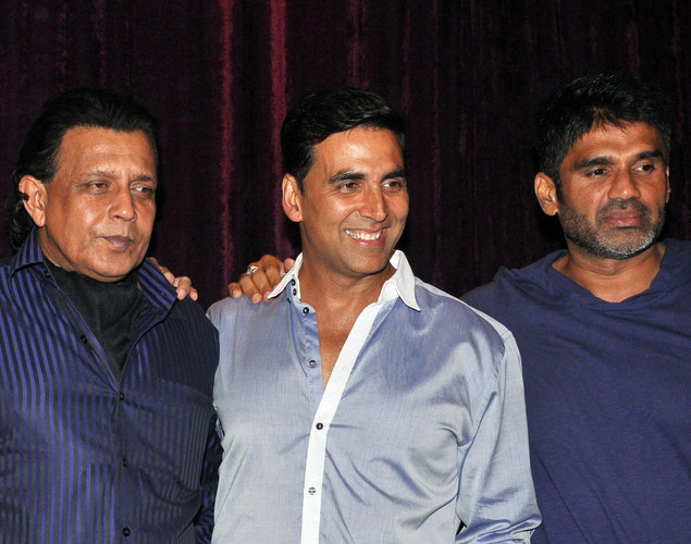 "Mithun Chakraborty, Akshay Kumar and Suniel Shetty pose for a photo during the launch of upcoming Hindi film ""Tukkaa Fitt"" directed by Shawn Arranha in Mumbai"