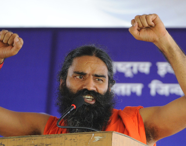Indian Yoga guru Baba Ramdev address his supporters during  a protest in New Delhi on August 10, 2012.