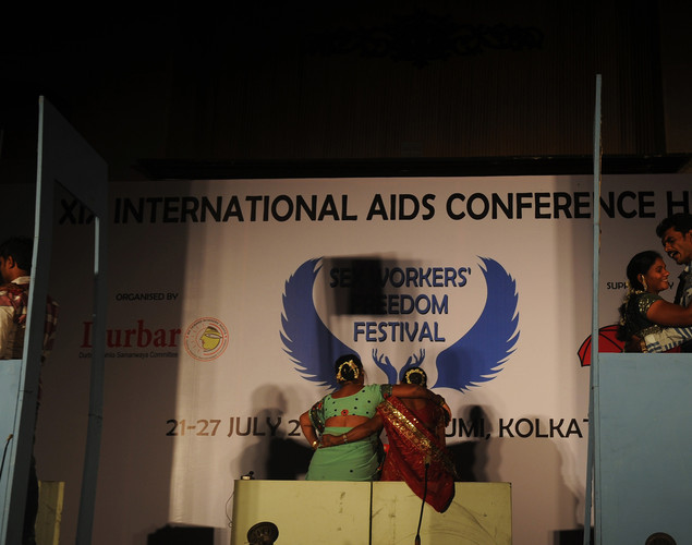 Indian sex workers perform a drama to create awareness of condom use and protection against HIV/AIDS during the Sex Workers' Freedom Festival in Kolkata.