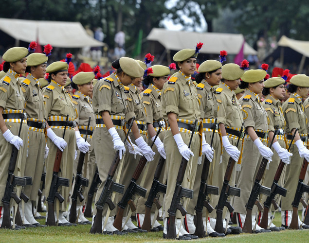Jammu and Kashmir Armed Police (JKAP) servicewomen stand during celebrations marking India's Independence Day at The Bakshi Stadium in Srinagar on August 15, 2012.