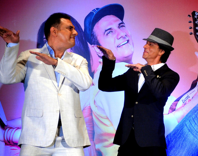 Bollywood film actors Boman Irani (L) and Shahrukh Khan pose during the third teaser poster and music launch of the forthcoming Hindi film 'Shirin Farhad Ki Toh Nikal Padi' directed by Bela Bhansali Sehgal in Mumbai.