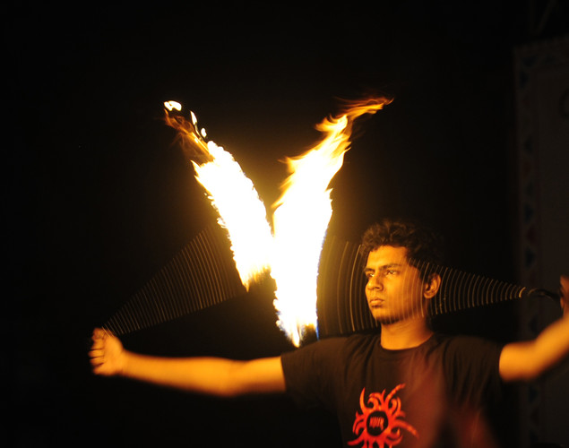 A Bangladeshi man performs a fire dance on the day of the Chaitra Sangkranti (last day of the Bengali year) in Dhaka.