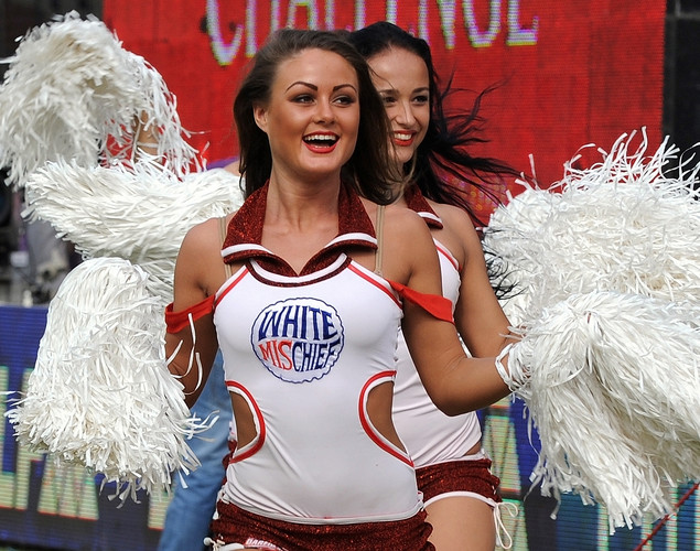 Delhi Daredevils cheerleader girls dance before the start of the IPL Twenty20 cricket match between Delhi Daredevils and Rajasthan Royals at the Feroz Shah Kotla stadium.