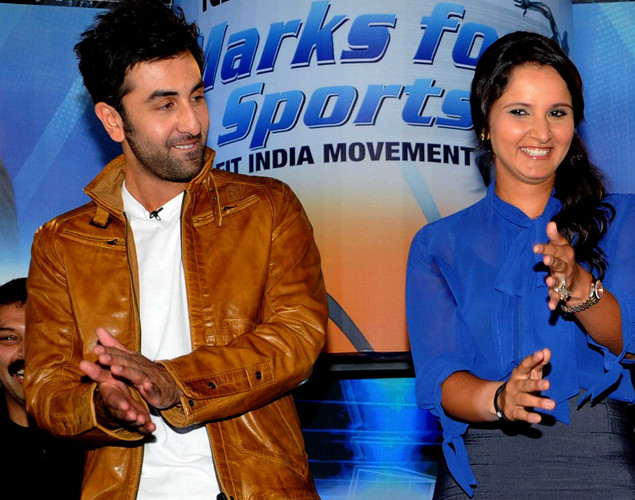 Indian tennis player Sania Mirza (R) and Bollywood film actor Ranbir Kapoor pose during the launch of the 'Marks For Sports' campaign created by the Fit India Movement in Mumbai.