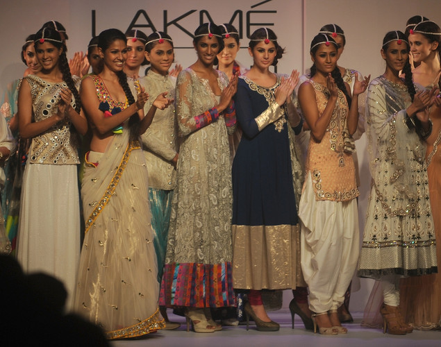 Models showcase creations by designer Pagal Singhal on the first day of Lakme Fashion Week (LFW) Winter/Festive 2012 in Mumbai on August 3, 2012.