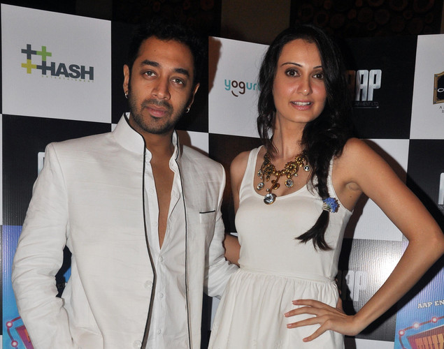 "Hiten Patel (L) and Vaishali Desai pose for a photo during the launch of upcoming Hindi film ""Tukkaa Fitt"" directed by Shawn Arranha in Mumbai."