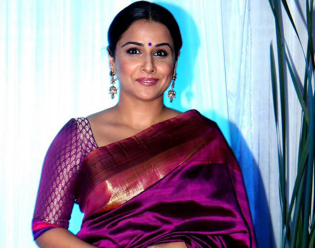 Bollywood film actress Vidya Balan poses during the wedding reception ceremony of film actress Esha Deol and husband Bharat Takhtani in Mumbai.