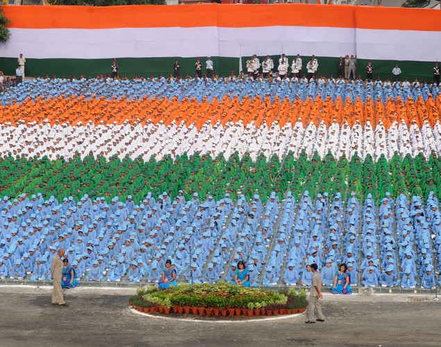 Indian school-children participate in India's Independence Day celebrations at the Red Fort in New Delhi on August 15, 2012.