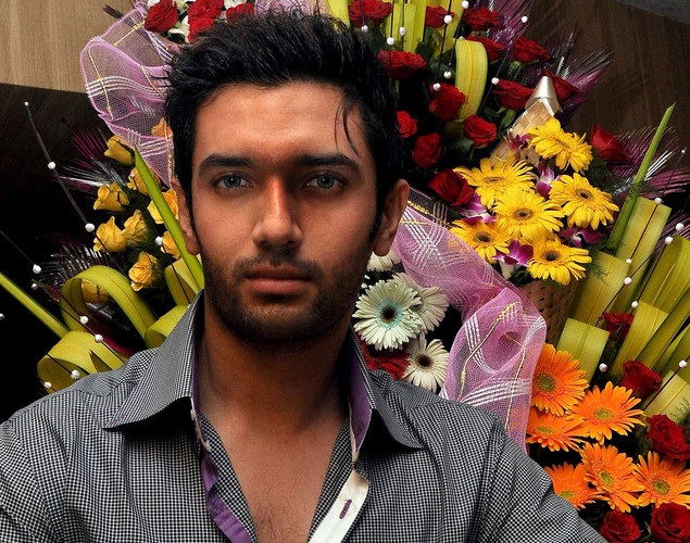 Chirag Paswan poses during the birthday celebration of Indian Bollywood film actress Poonam Dhillon in Mumbai on April 18, 2012.